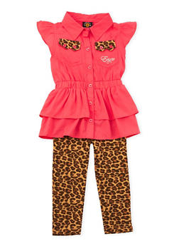 Toddler Girls Enyce Tiered Top and Printed Leggings Set - 3505054733403