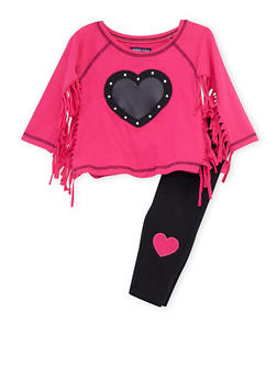 Toddler Girls Limited Too Fringed Graphic Top and Leggings Set - 3505060990017