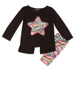 Toddler Girls Limited Too Split Back Top and Leggings with Zebra Star Print - 3505060990020