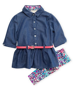 Toddler Girls Belted Chambray Top and Printed Leggings Set - 3505061957835