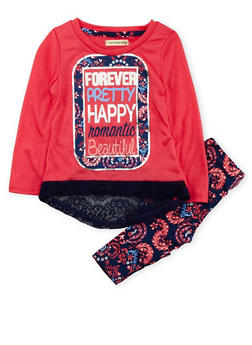Toddler Girls Forever Pretty Floral Print Long Sleeve Top and Leggings - 3505061958186