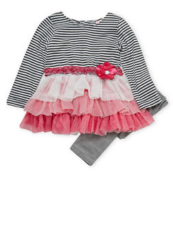 Toddler Girls Tiered Ruffle Dress and Leggings with Striped Print - 3505070682063