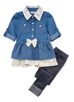 Toddler Girls Lace Accented Chambray Dress with Jeggings Set - 3505070682083