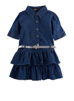 Toddler Girls Tiered Chambray Dress with Removable Belt - 3508038340054