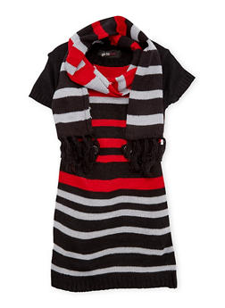 Toddler Girls Sweater Dress and Scarf Set - 3508038341530