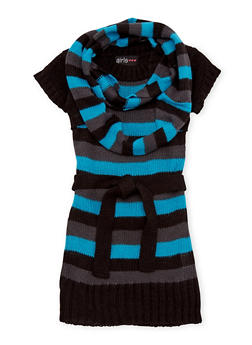 Toddler Girls Striped Sweater Dress with Infinity Scarf - 3508038341531