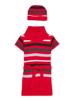 Toddler Girls Striped Sweater Dress with Hat - 3508038341534