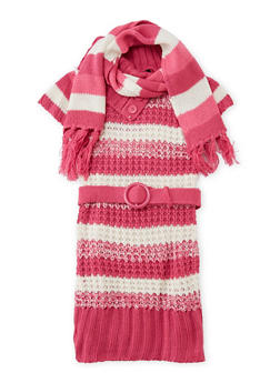 Toddler Girls Sweater Dress with Scarf Set - 3508038341537