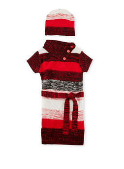 Toddler Girls Matching Striped Knit Dress and Beanie - 3508038341538