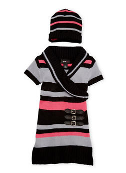 Toddler Girls Sweater Dress with Beanie Hat Set - 3508038341540