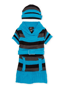 Toddler Girls Striped Sweater Dress with Hat - 3508038341541
