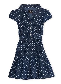 Toddler Girls Belted Denim Dress in Heart Print - DARK WASH - 3508054736182