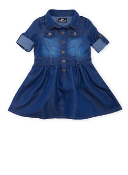 Toddler Girls Chambray Dress with Button-Cuff Sleeves - 3508054736190
