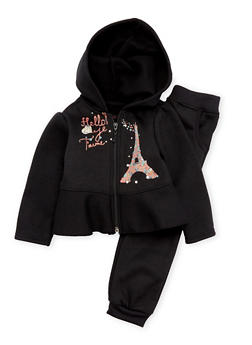 Toddler Girls Hoodie and Sweatpants Set with Paris Graphic - 3515038340001