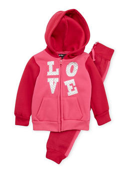 Toddler Girls Love Patch Hoodie with Joggers Set - 3515038340020