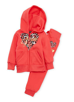 Toddler Girls Hoodie and Sweatpants Set with Love Graphics - 3515038340041
