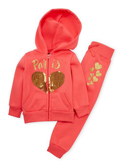 Toddler Girls Paris Graphic Hoodie with Joggers Set - 3515038340043