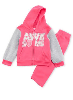 Toddler Girls Awesome Graphic Hoodie and Sweatpants Set - 3515048374602
