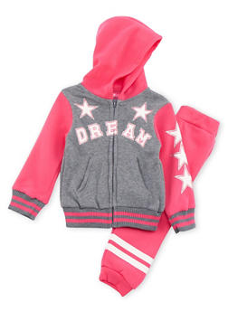 Toddler Girls Graphic Hoodie and Sweatpants Set - 3515048377502