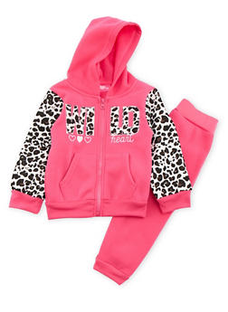 Toddler Girls Hoodie and Joggers Set with Leopard Trim - 3515048377902