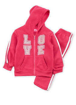 Toddler Girls Hoodie and Sweatpants with Love Graphic - 3515048379902