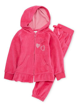 Toddler Girls Ruffled Hoodie and Joggers Set - 3515054732266