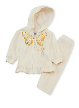 Toddler Girls Peplum Hoodie with Sweatpants Set - 3515054732269