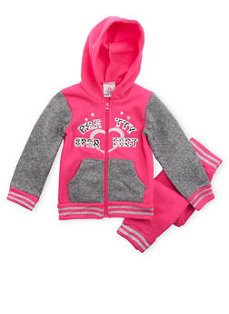 Toddler Girls Zip Front Hoodie and Joggers Set - 3515054732271