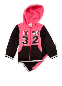 Toddler Girls Quilted Hoodie and Joggers with Love 32 Print - 3515054732272