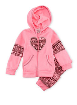 Toddler Girls Hoodie and Joggers Set with Ikat Accents - 3515054732275