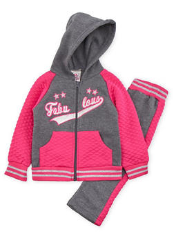 Toddler Girl Quilted Fleece Joggers and Hoodie with Fabulous Print - 3515054732277