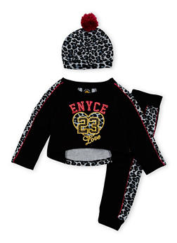Toddler Girls Enyce Graphic Top with Joggers and Hat Set - 3515054733202