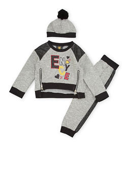 Toddler Girls Enyce Graphic Sweatshirt with Joggers and Hat - 3515054733206