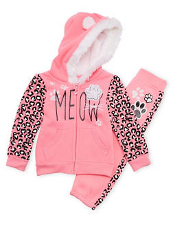 Toddler Girls Hoodie and Joggers Set with Meow Graphic - 3515060991003