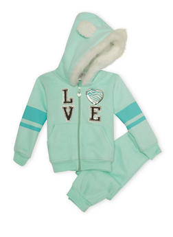 Toddler Girls Love Hoodie and Joggers Set - 3515060991010