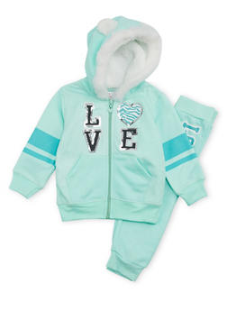 Toddler Girls Hoodie and Joggers Set with Love Graphic - 3515060991011