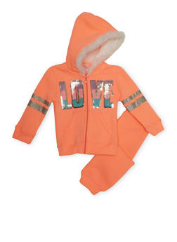 Toddler Girls Love Hoodie and Joggers Set - 3515060991012