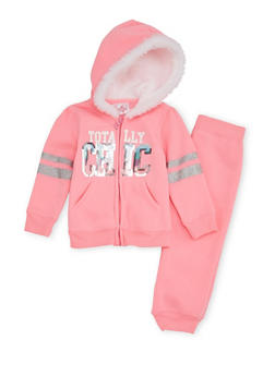 Toddler Girls Hoodie and Joggers Set with Chic Graphic - 3515060991015