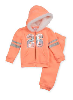 Toddler Girls Graphic Hoodie and Sweatpants Set - 3515060991018
