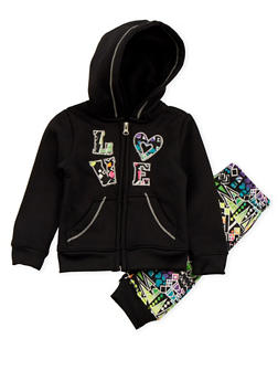 Toddler Girls Printed Hoodie and Joggers Set - 3515061959012