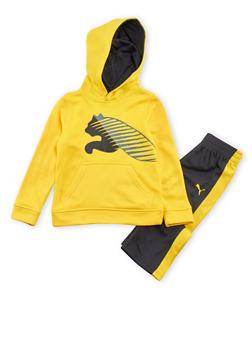 Toddler Boys Puma Fleece Hoodie and Athletic Pants Set - 3516045800360