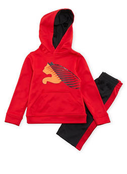 Toddler Boys Puma Hoodie and Striped Pants with Logo - 3516045800361