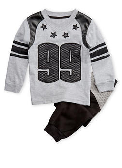 Toddler Boys Shirt and Neoprene Joggers Set - 3516054731784