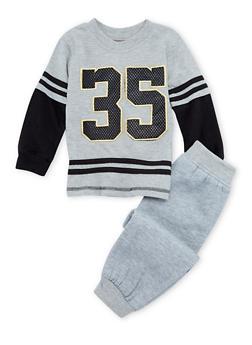 Toddler Boys Layered Shirt and Joggers Set - 3516054731789