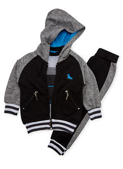 Toddler Boys Zip Front Hoodie Set with Tee and Joggers - 3516060990085