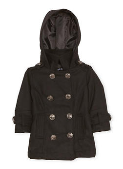 Toddler Girls Peacoat with Hood - 3519038340057