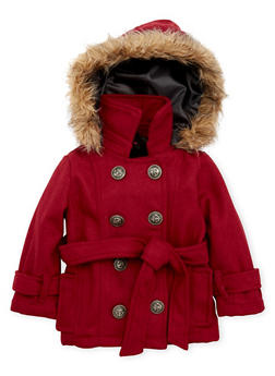 Toddler Girls Coat with Faux Fur Trimmed Hood - 3519038340058