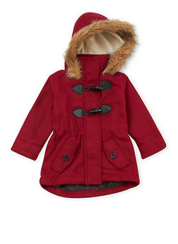 Toddler Girls Toggle Front Coat with Fur Trim Hood - 3519038340060