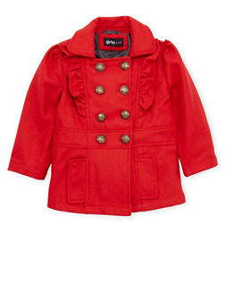 Toddler Girls Peacoat with Ruffle Trim - 3519038340061