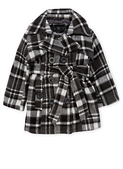 Toddler Girls Belted Plaid Peacoat - 3519038340062